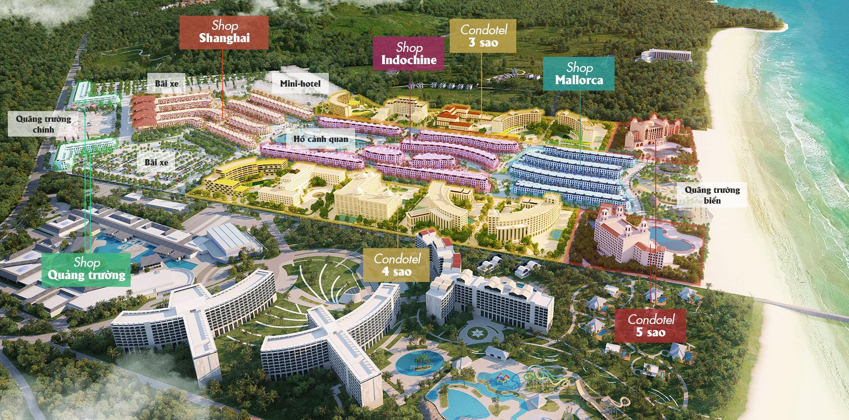 Phối cảnh tổ hợp BĐS nghỉ dưỡng - Vui chơi giải trí - Thương mại dịch vụ Grand World Phú Quốc