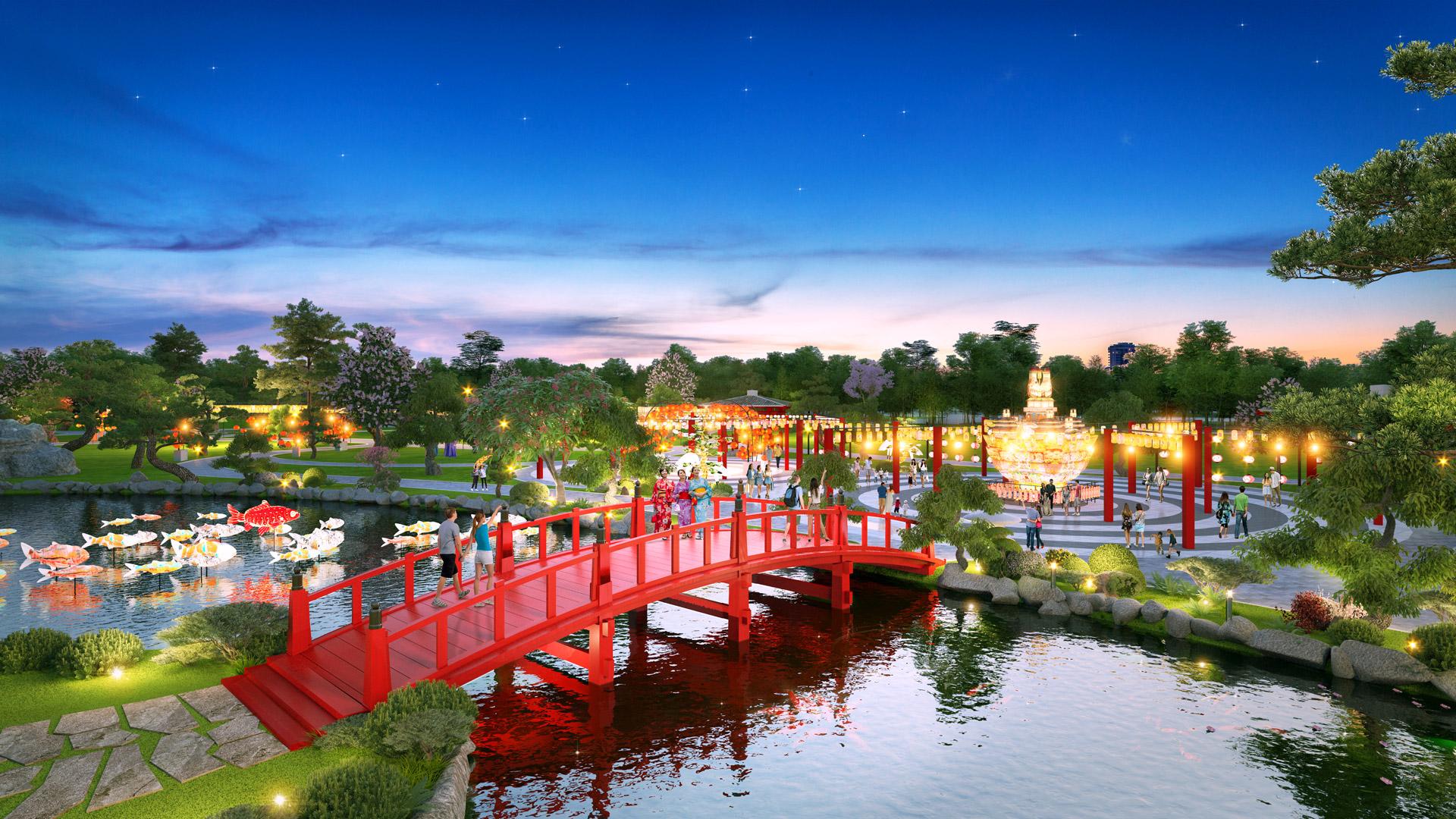 Phối cảnh khu vườn Nhật của phân khu 2 dự án Vinhomes Grand Park