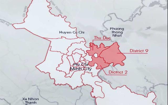 Sơ đồ vị trí thành phố phía đông tphcm