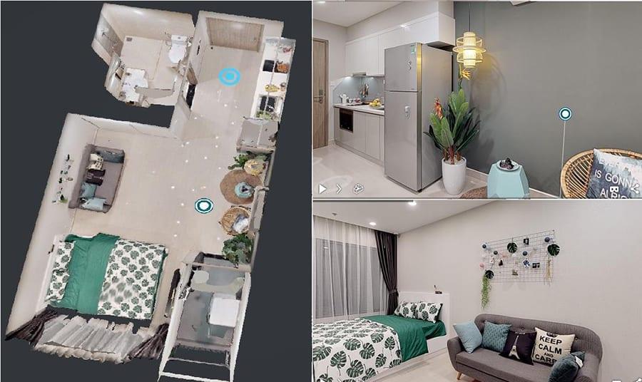 Mặt bằng 3D căn hộ 1 phòng ngủ của dự án Vincity Quận 9